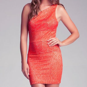bebe orange one shoulder lace dress XL